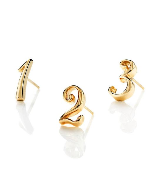Lulu Frost | Metallic Code Number Earring - 14k Yellow Gold | Lyst