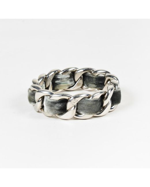 Chanel - Metallic Silver Tone Metal & Grey Velvet Chain Link Bangle Bracelet - Lyst