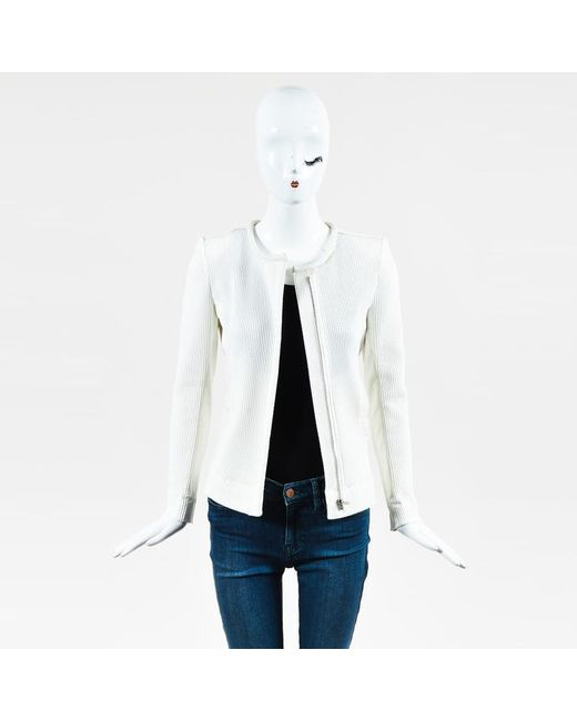 IRO - Multicolor Cream Textured Knit Leather Trim Moto Jacket - Lyst