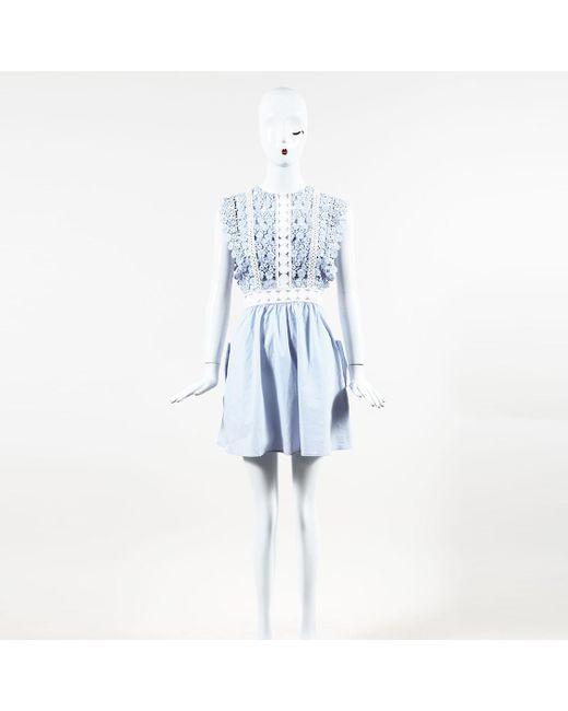 9834e9060bb18 Lyst - Self-Portrait Floral Eyelet Lace Mini Dress in Blue