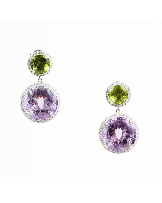Dana Rebecca - Metallic Peridot Amethyst Diamond & 14 Karat White Gold Drop Earrings - Lyst