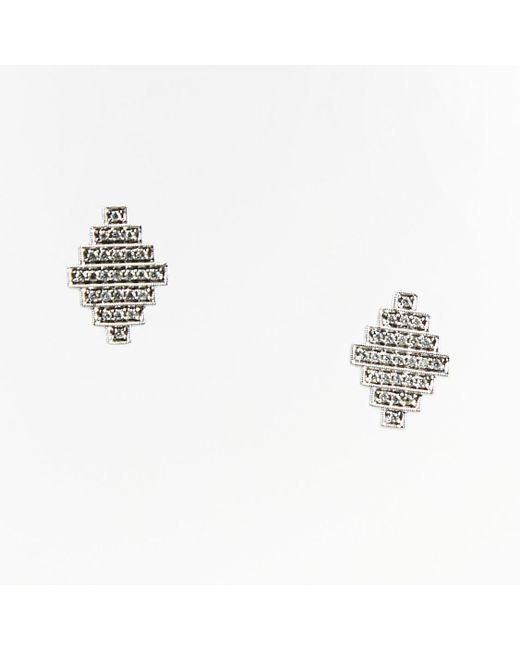 "Dana Rebecca - Metallic 14k White Gold Diamonds ""jeb"" Stud Earrings - Lyst"