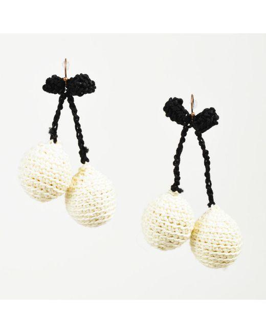 "Rosie Assoulin - Nwot Cream & Black Crochet Knit ""pair Of Cherry"" Drop Earrings - Lyst"