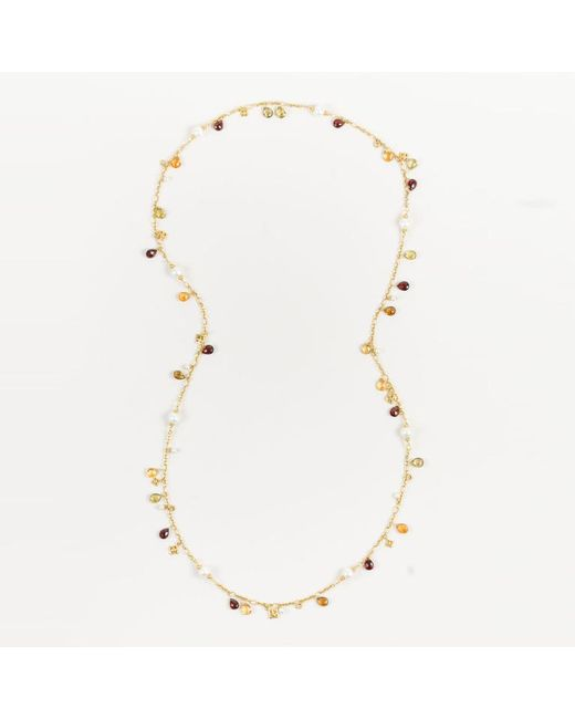David Yurman - Metallic 18k Yellow Gold Pearl Citrine Garnet Quartz Beaded Bijoux Necklace - Lyst