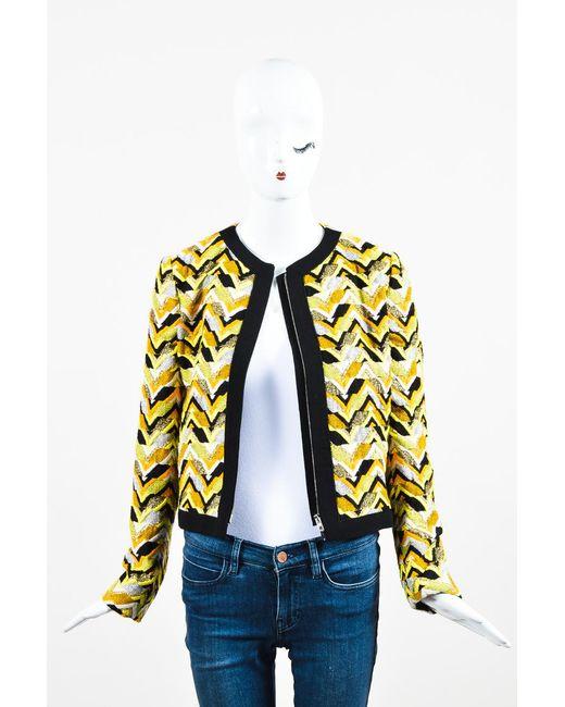 Giambattista Valli - Nwt Yellow Orange Black Embroidered Patterned Ls Jacket - Lyst