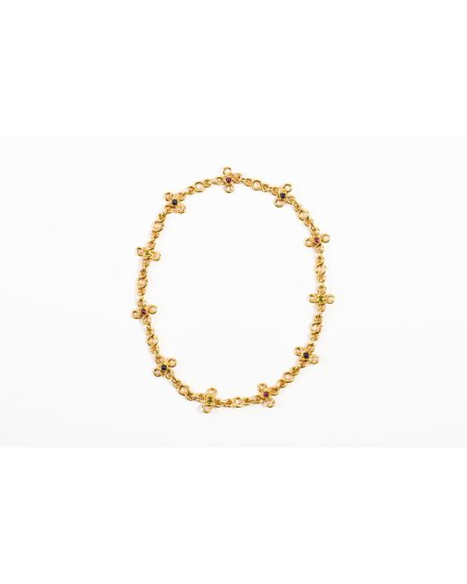 Chanel - Metallic 18k Yellow Gold Multicolor Cabochon Gemstone Short Chain Necklace - Lyst