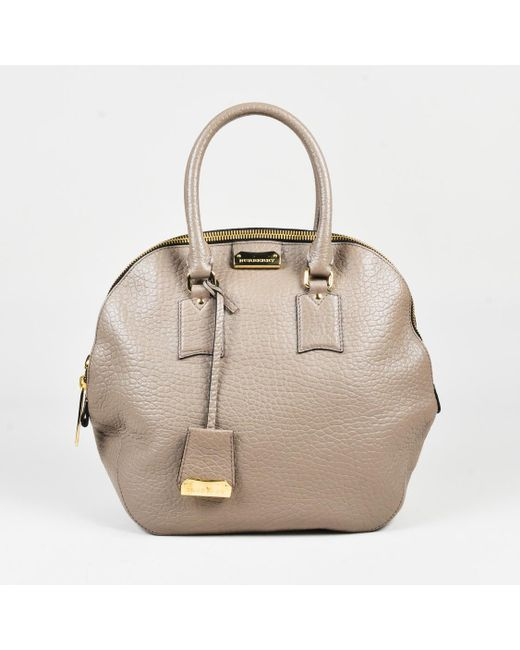 Burberry - Gray Taupe Grained Leather Medium