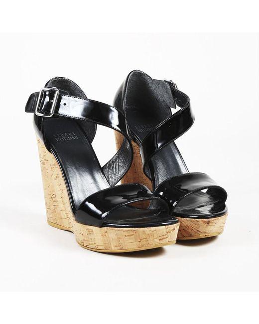 Stuart Weitzman - Black Patent Leather Cork Wedge Heel Sandals - Lyst