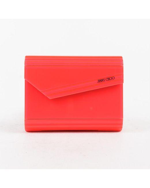 Jimmy Choo Neon Pink Acrylic Leather Crossbody Chain Candy Box Clutch Bag
