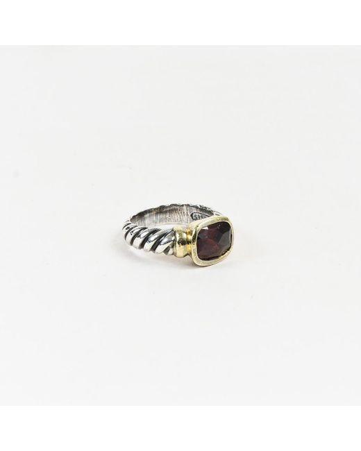"David Yurman - Metallic Sterling Silver 14k Gold Garnet ""noblesse"" Ring - Lyst"