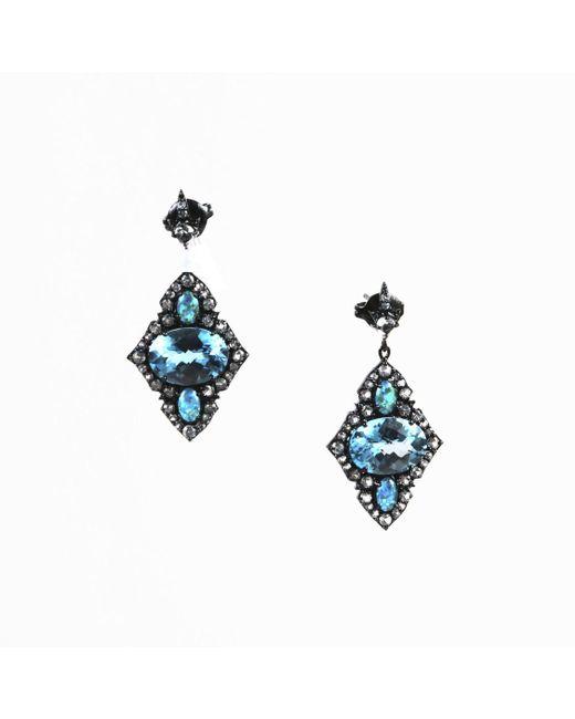 Unbranded - Blue & White Topaz Opal Triplet Sterling Silver Kite Earrings - Lyst