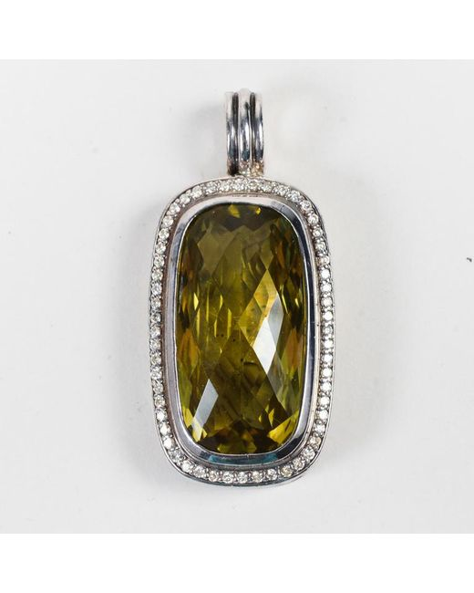 "David Yurman - Metallic Sterling Silver Diamond Lemon Citrine ""albion"" Pendant - Lyst"