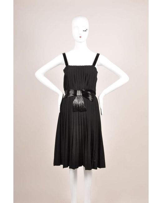 Lanvin - Black Beaded Bow Detail Wool Blend Sleeveless Pleated Dress - Lyst
