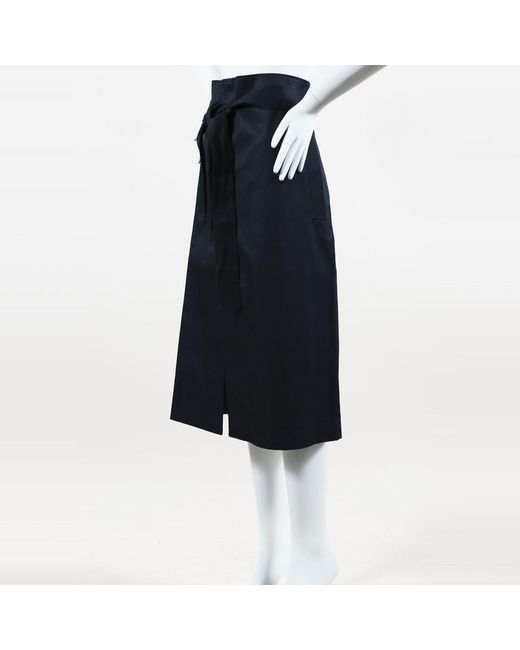 Vetements - Blue Cotton Twill Asymmetric Belted Midi Skirt - Lyst