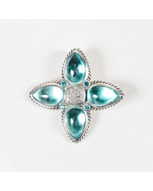 David Yurman - Blue Sapphire & Topaz Cabochon Diamond Sterling Silver Pendant - Lyst