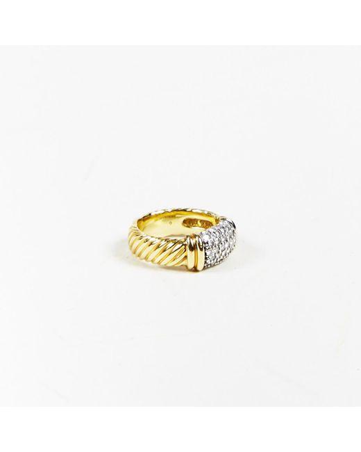"""David Yurman - Metallic 18 Karat Yellow Gold & Pave Diamond """"metro"""" Cable Ring - Lyst"""