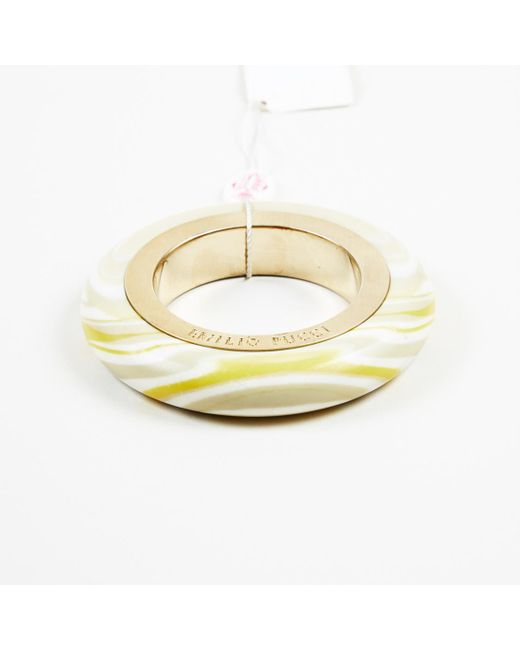 Emilio Pucci - Metallic Marble Effect Bangle Gold Tone Acrylic Bracelet - Lyst