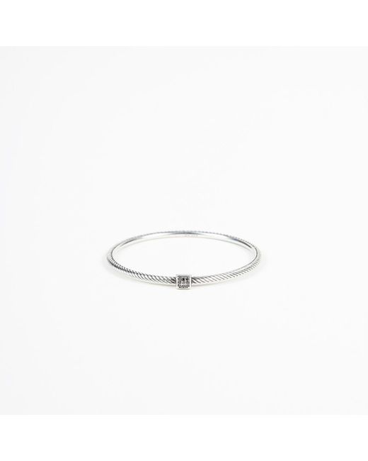 "David Yurman - Metallic ""confetti Bangle"" Sterling Silver Black Diamond Bracelet - Lyst"
