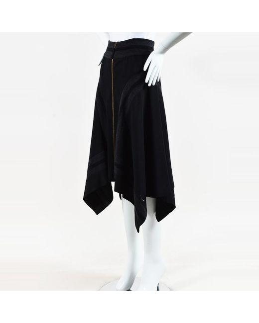 Jean Paul Gaultier - Black Wool Striped Knit Asymmetric Skirt - Lyst