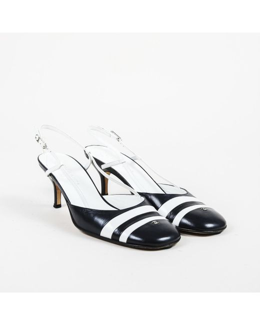 2b0b1920754 Chanel Blue White Leather Striped Pumps in Blue - Lyst