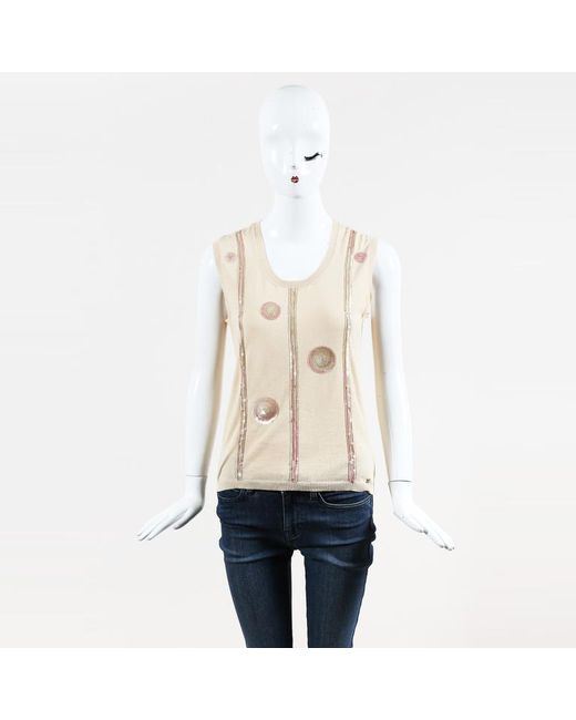 Chanel - Natural Spring 2006 Beige & Pink Cotton Knit Sequined Shell Sweater Top - Lyst