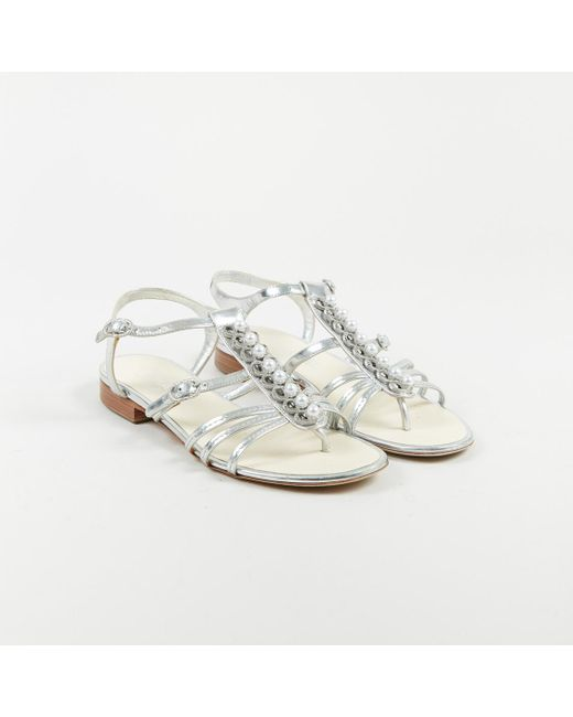 Chanel - Metallic Silver Leather Faux Pearl Embellished Caged Sandals - Lyst