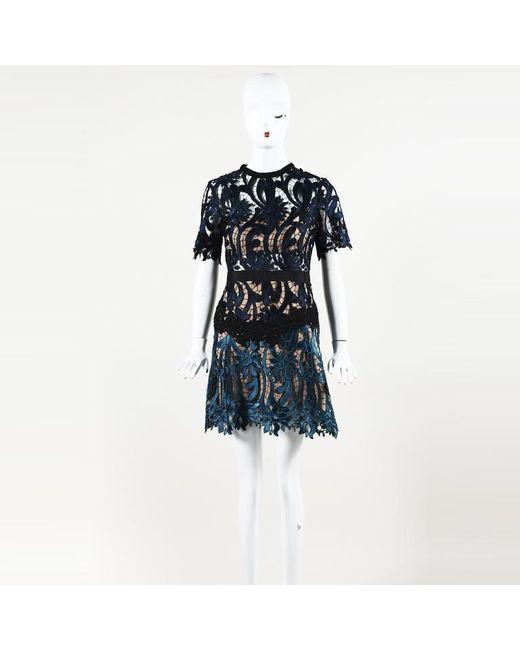 Womens Blue Lace Mini Dress