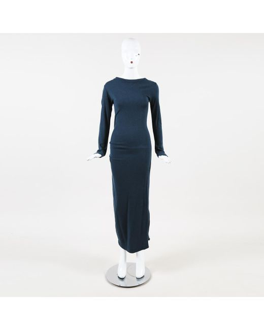 b921f8ed08 By Malene Birger Blue Knit Long Sleeve Maxi Dress in Blue - Lyst