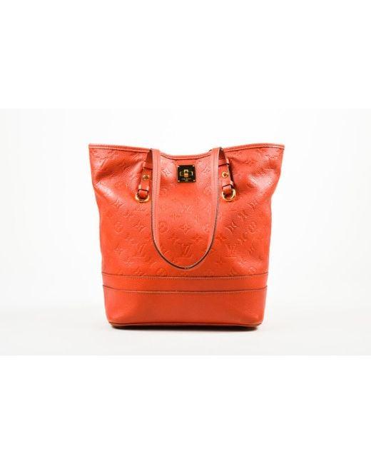 Louis Vuitton - Red Empreinte Leather Monogram Citadine Pm Tote Bag - Lyst