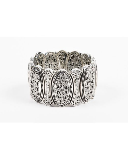 Konstantino - Metallic Sterling Silver Filigree Etched Wide Oval Link Bracelet - Lyst