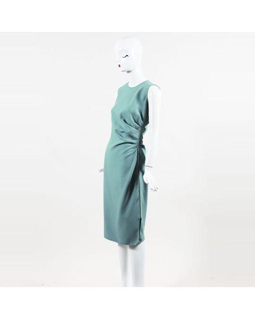 Emilio Pucci - Blue Wool Blend Asymmetric Pleated Midi Dress - Lyst