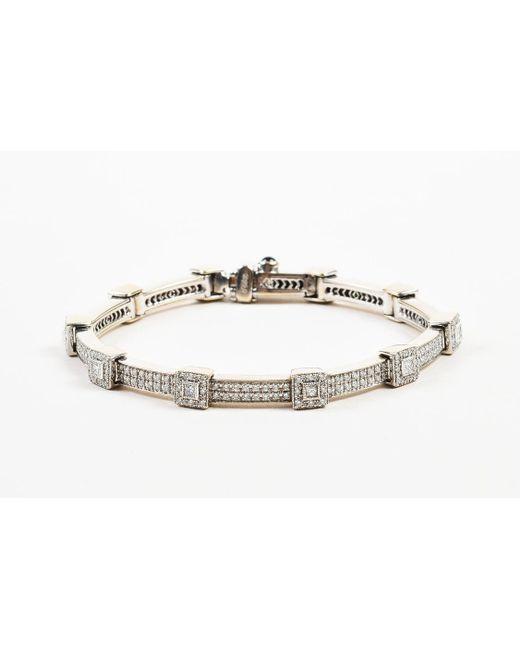 "Charriol - Metallic 18k White Gold & Diamonds ""flamme Blanche"" Tennis Bracelet - Lyst"