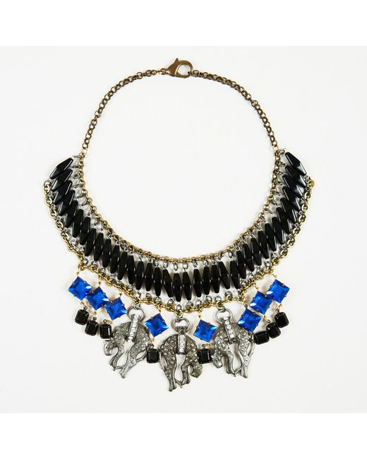 Barneys New York - Blue Multicolor Gold Crystal Resin & Metal Cheetah Collar Necklace - Lyst
