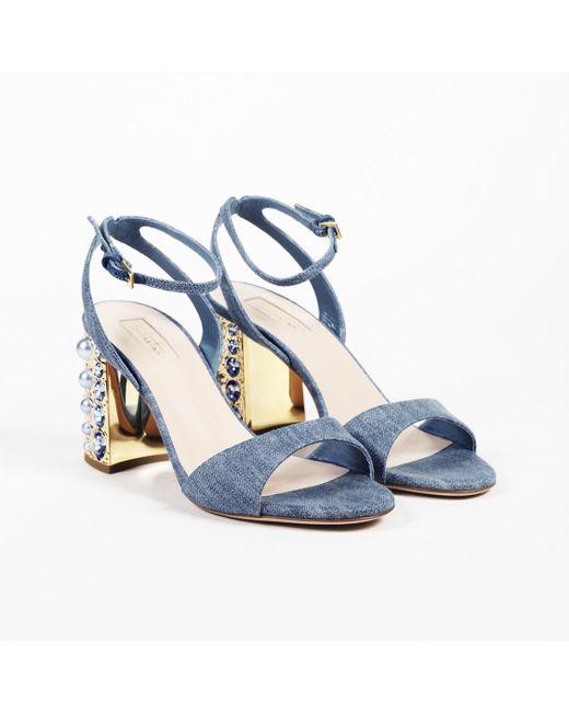 Sebastian - Blue Denim Faux Pearl Ankle Strap Sandals - Lyst