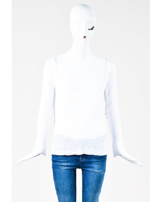 Inhabit - White Knit Crochet Long Sleeve Thin Sweater - Lyst