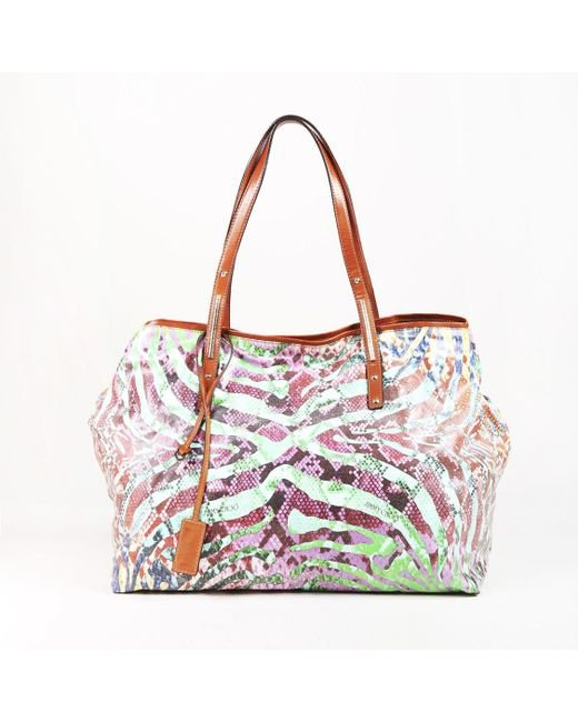 """Jimmy Choo - Red Multicolor Coated Canvas & Leather Animal Print """"scarlet"""" Tote Bag - Lyst"""