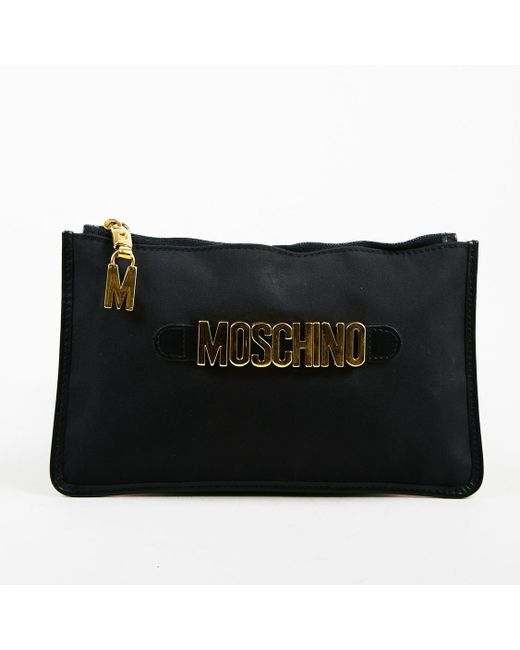 Moschino - Black Nylon Gold Tone Logo Embellished Wallet - Lyst
