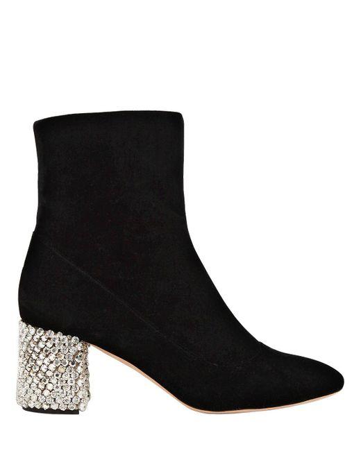 Rochas   Black 60mm Velvet Boots With Crystal Heel   Lyst