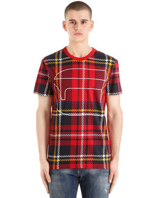 G-Star RAW - Red Royal Tartan Printed Cotton T-shirt for Men - Lyst