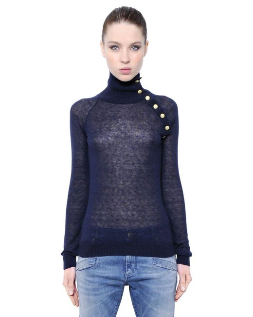 Balmain | Blue Mohair Wool Blend Turtleneck Sweater | Lyst