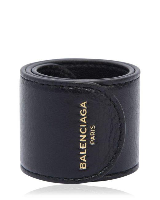 Balenciaga - Black Cycle Leather Slap Bracelet for Men - Lyst