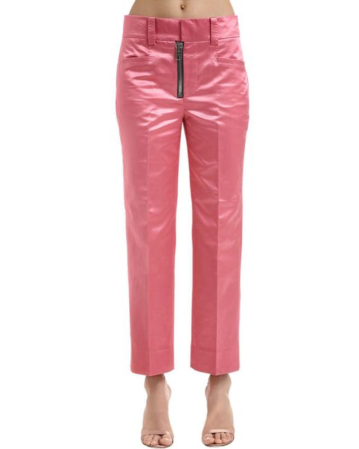 COACH - Pink Techno Satin Flared Pants - Lyst