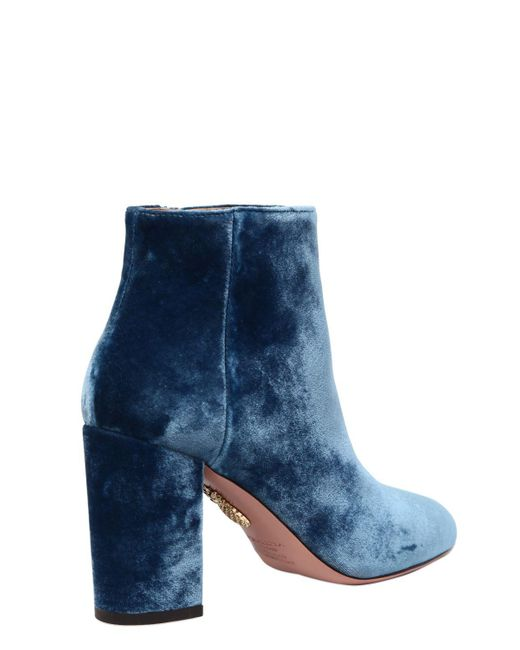 Cheap For Nice New Styles Cheap Price Aquazzura 85MM BROOKLYN VELVET ANKLE BOOTS QPrxDGdM