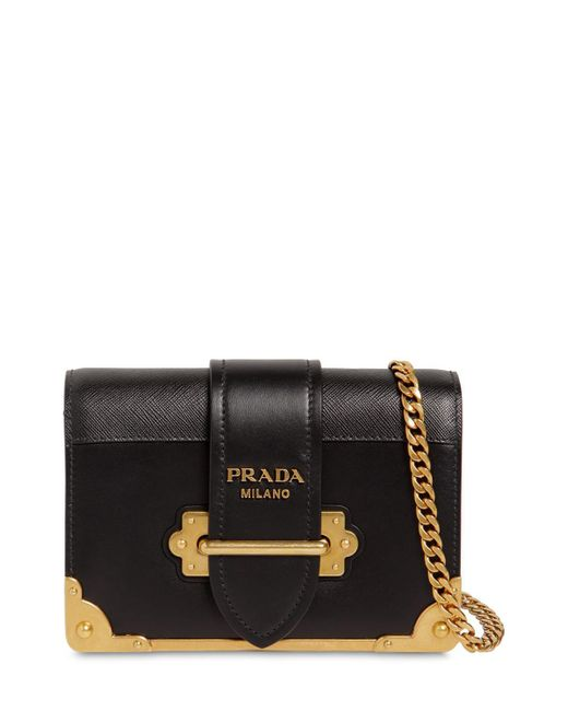 d40239818cac Prada - Black Small Cahier Leather Shoulder Bag - Lyst ...