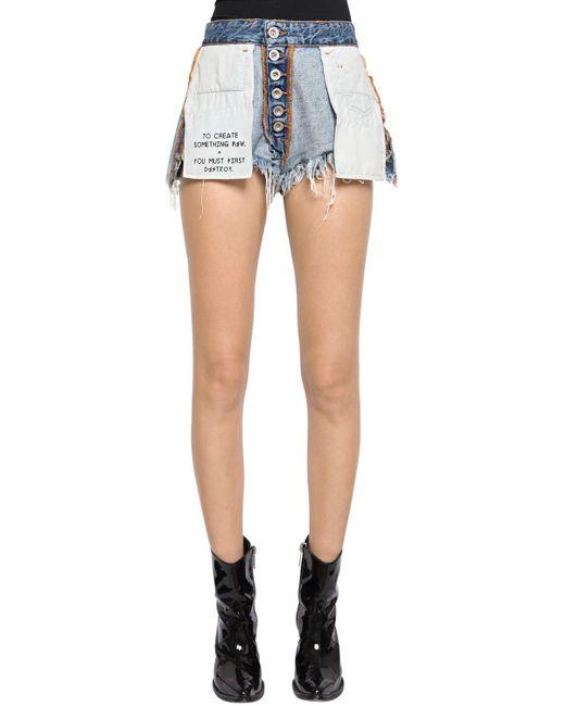 Unravel - Blue Inside Out Reversible Denim Shorts - Lyst