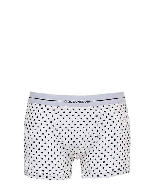 Dolce & Gabbana - White Polka Dot Cotton Jersey Boxer Briefs for Men - Lyst