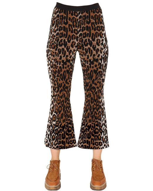 Stella McCartney   Black Flared Leopard Wool Blend Jacquard Pants   Lyst
