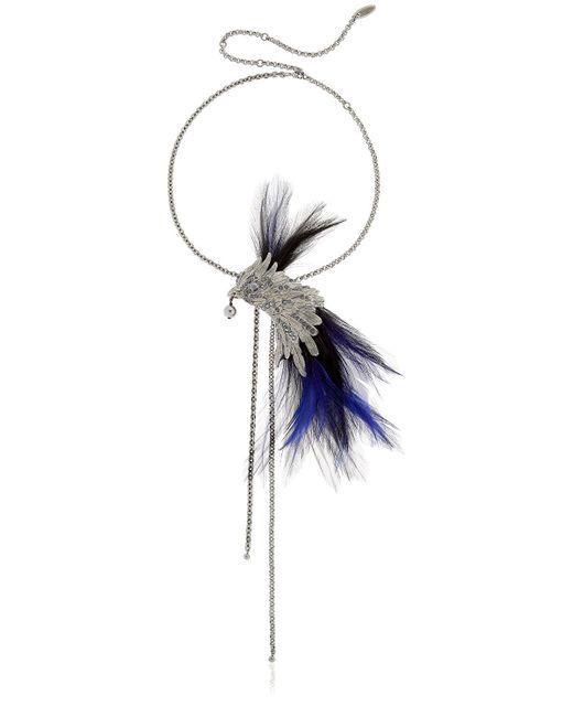 Lanvin | Blue Phoenix Bird Necklace W/ Feathers | Lyst