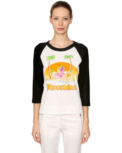 Moschino | White Little Pony Printed Cotton T-shirt | Lyst