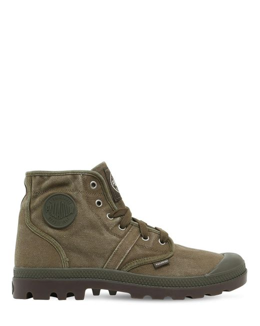 Palladium - Green Pallabrouse Washed Canvas Mid Boots for Men - Lyst